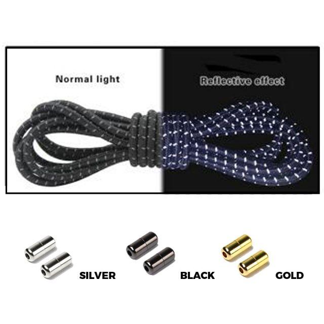Black Grey Reflective Elastic Shoelaces - Round Capsule Lock
