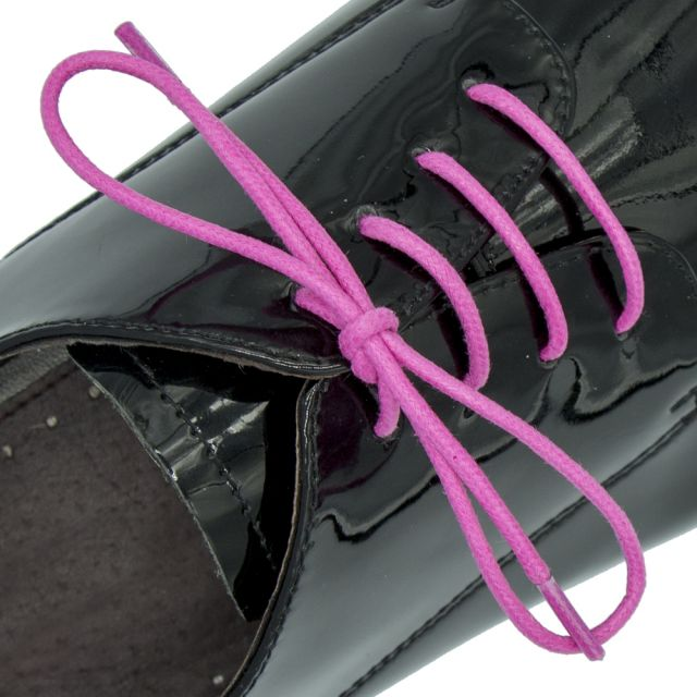 Waxed 3mm round shoelace - 60cm pink